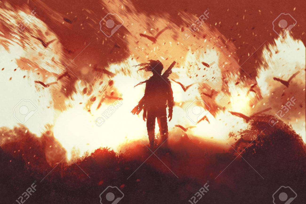 man with gun standing against fire background,illustration painting Stock Illustration - 64039608
