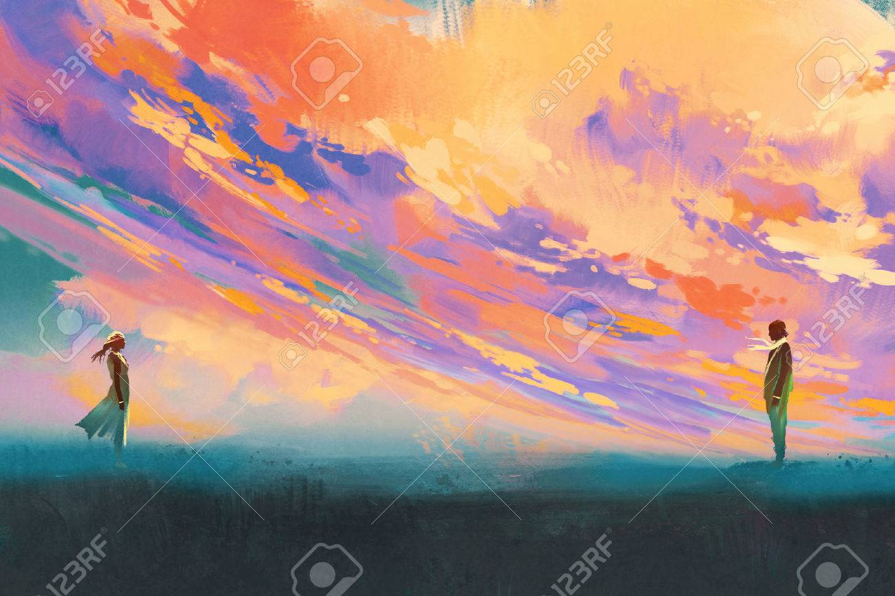 man and woman standing opposite of each other against colorful sky,illustration painting Stock Illustration - 64039610