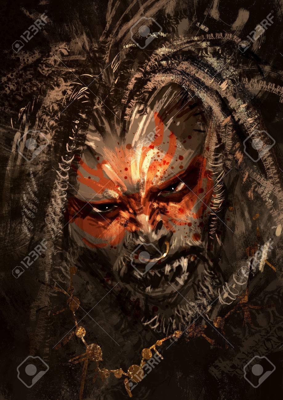 Monstre Portrait Montrant La Peinture De Guerre Sur Le Visage De