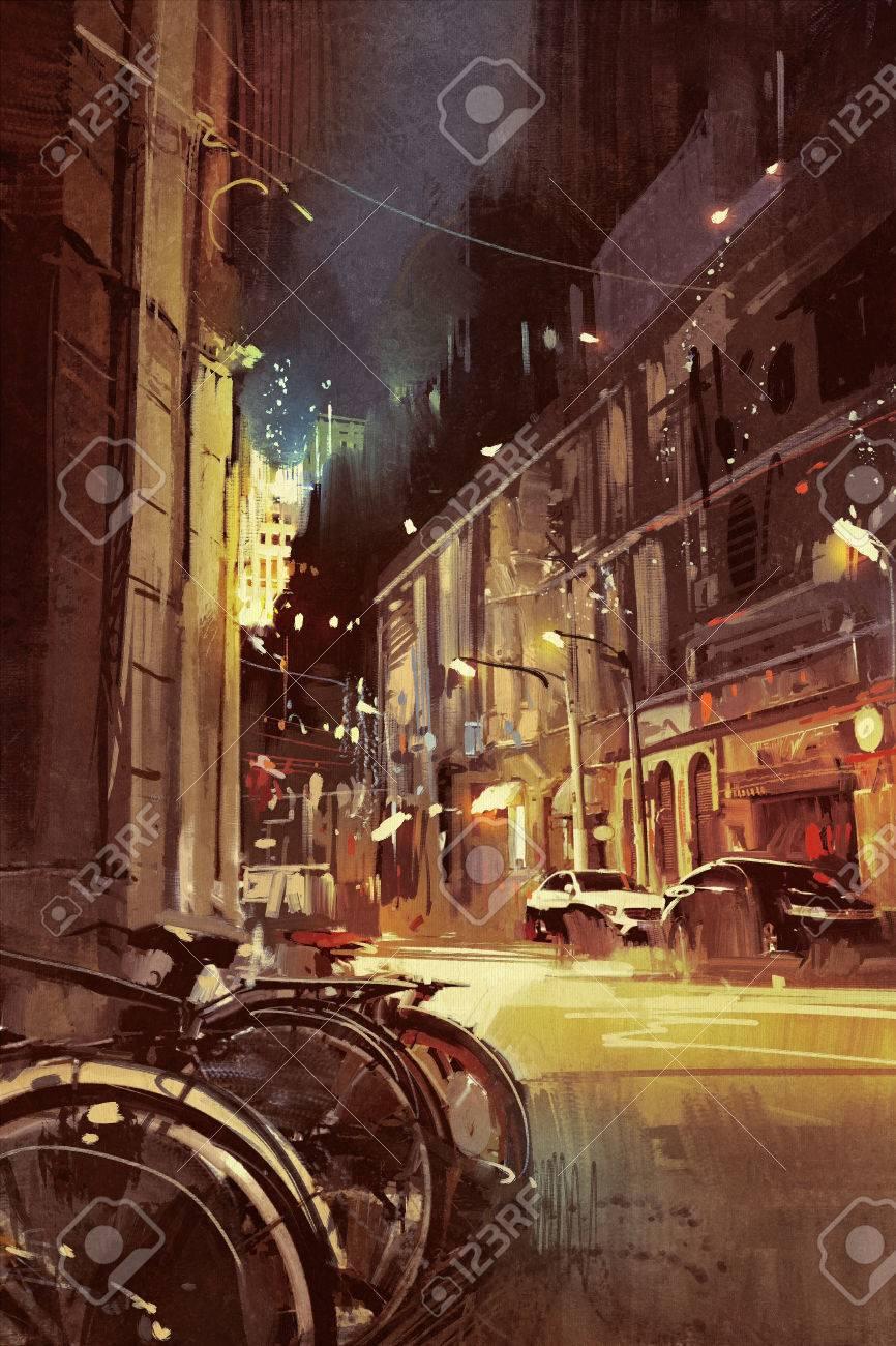 Escena Nocturna De Una Calle De Ciudad Con Luces De Colores Pintura