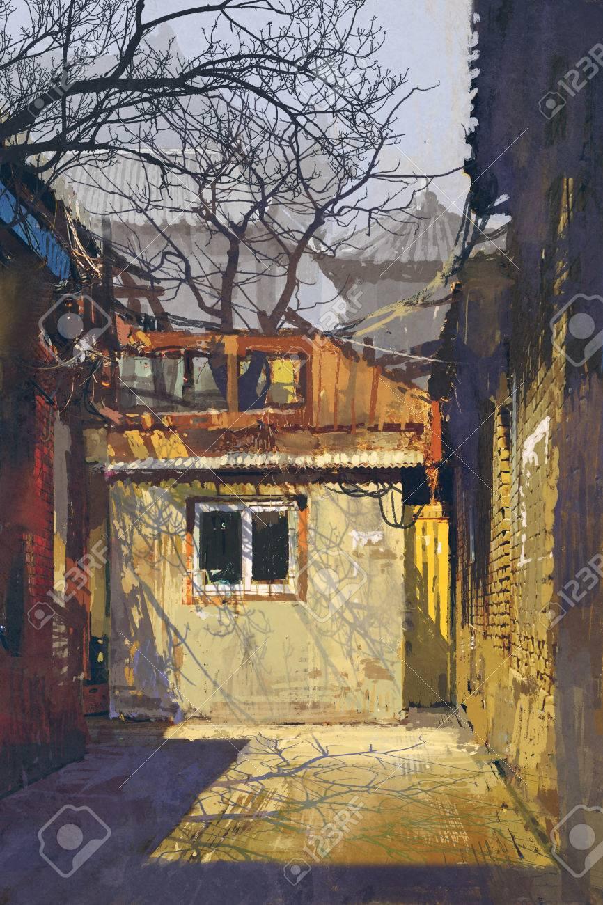 放棄された建物と古い路地、絵画の図の汚いコーナー