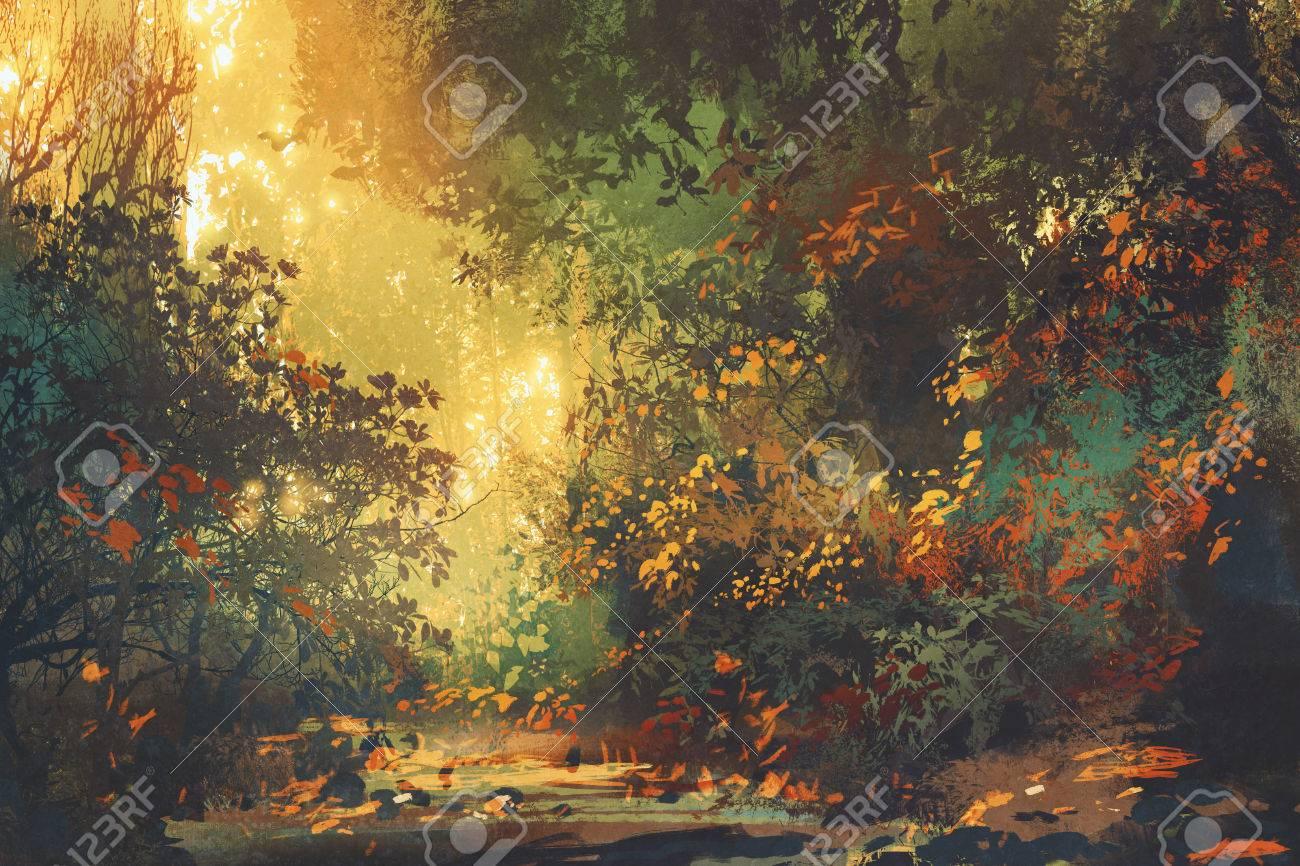 カラフルな森の木と夕日 イラスト絵を春の花の美しい風景 の写真素材 画像素材 Image