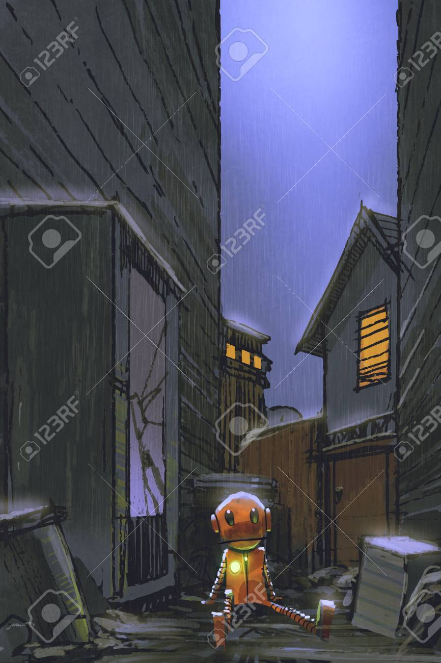 Night scene of little robot left alone in dirty alley with digital art style illustration