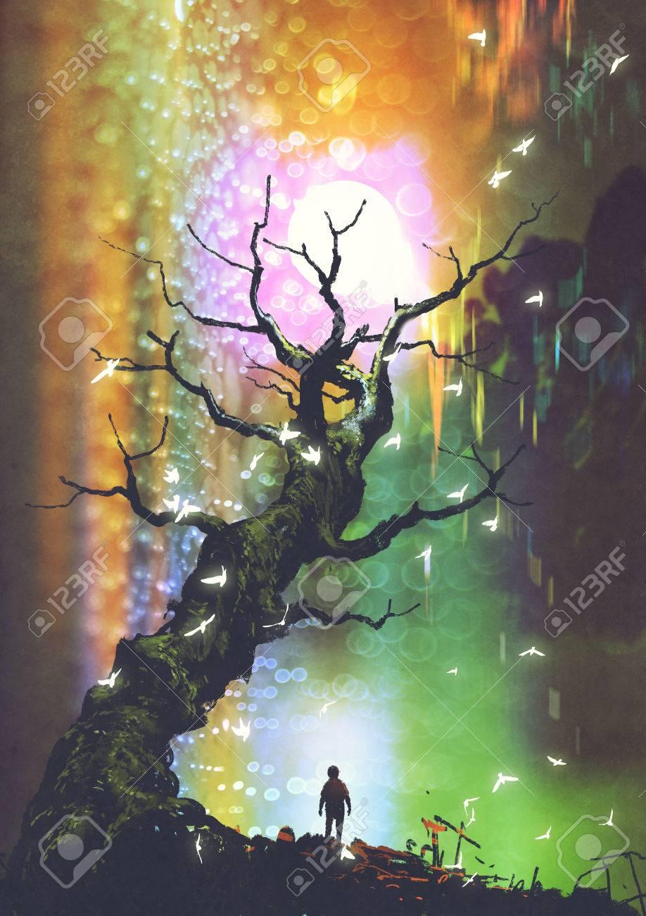 ファンタジー絵画イラスト デジタル アート スタイル光球上裸のツリーの下に立っている少年の風景 の写真素材 画像素材 Image