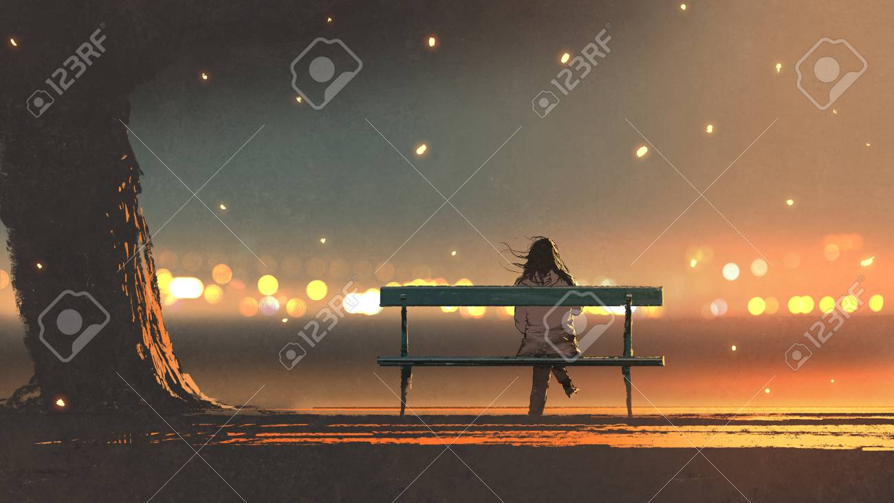 back view of young woman sitting on a bench with bokeh light, digital art style, illustration painting - 90056613