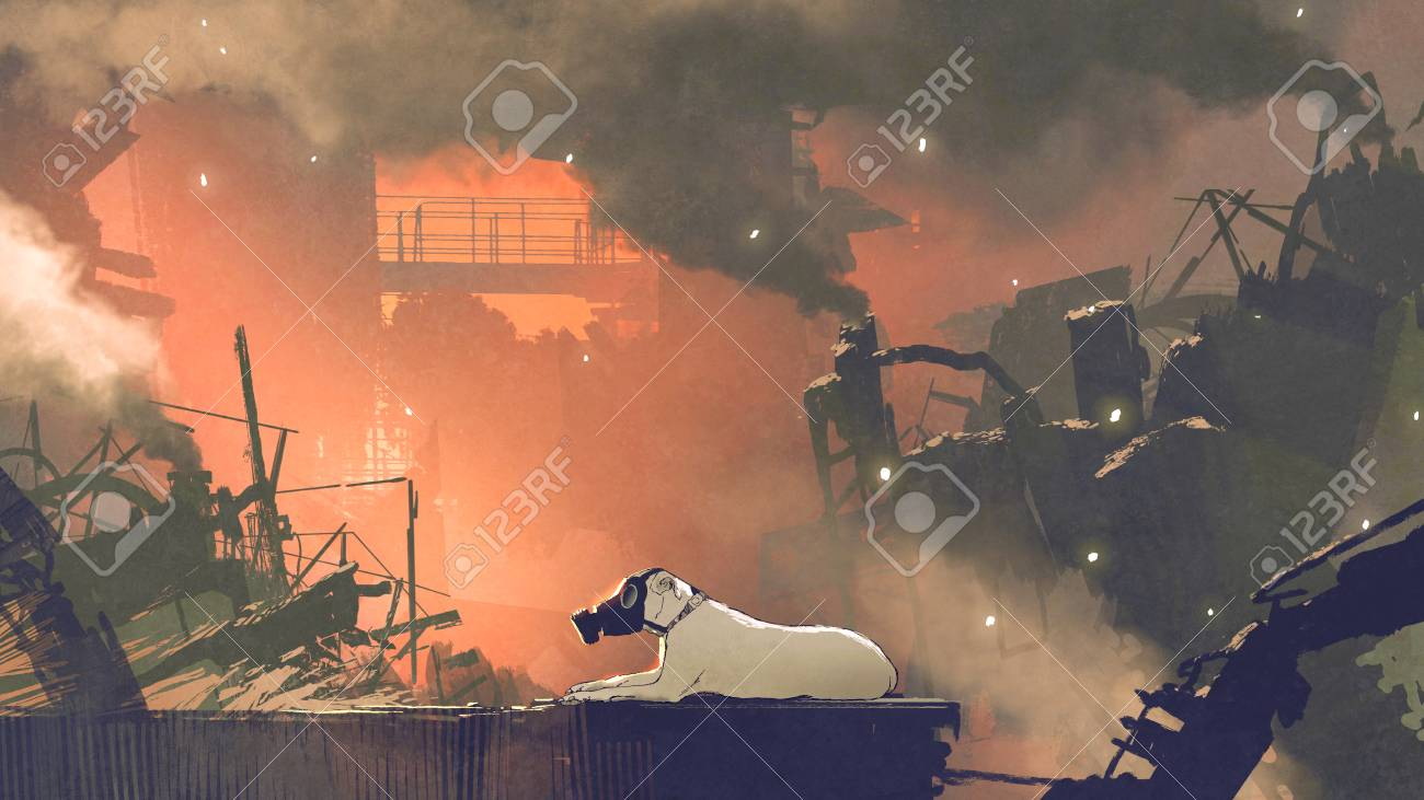 The dog wearing gas mask sitting in city with air pollution digital art style