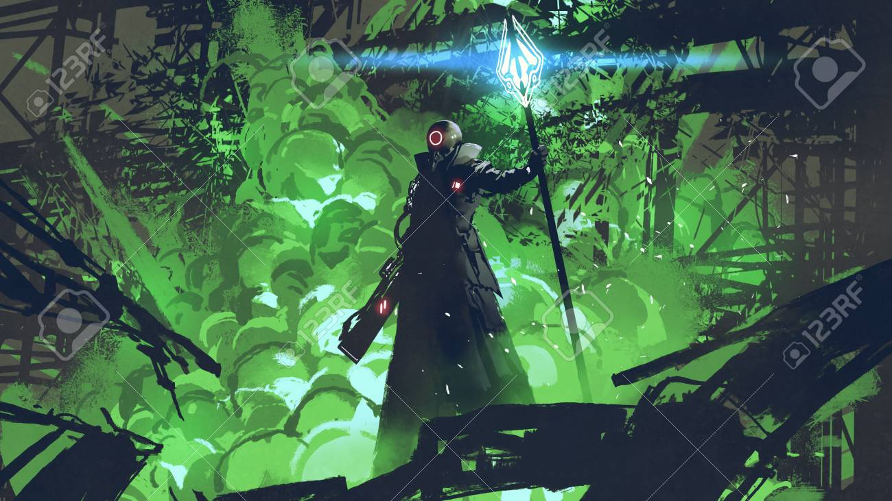 Sci-fi character in black cloak with light spear standing against green explosion - 118569510