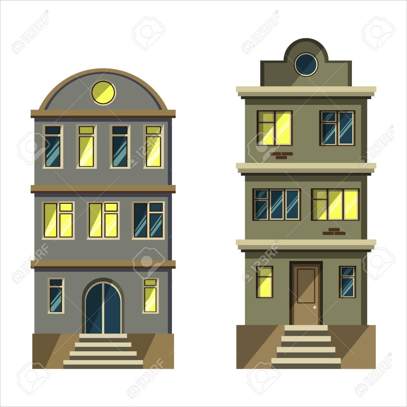 Définir Les Immeubles Du0027appartements De La Ville. Architecture Et Design  Plat. Isolé