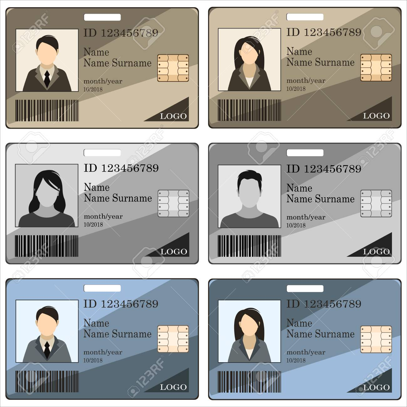 Templates ID Cards And Badges For Men And Women. Vector Illustration ...