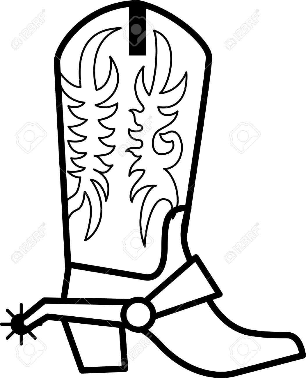 Coloring pictures of cowboy boots - Get Your Cowboy On With These Boots And Big Ol Spurs Clean Single Color