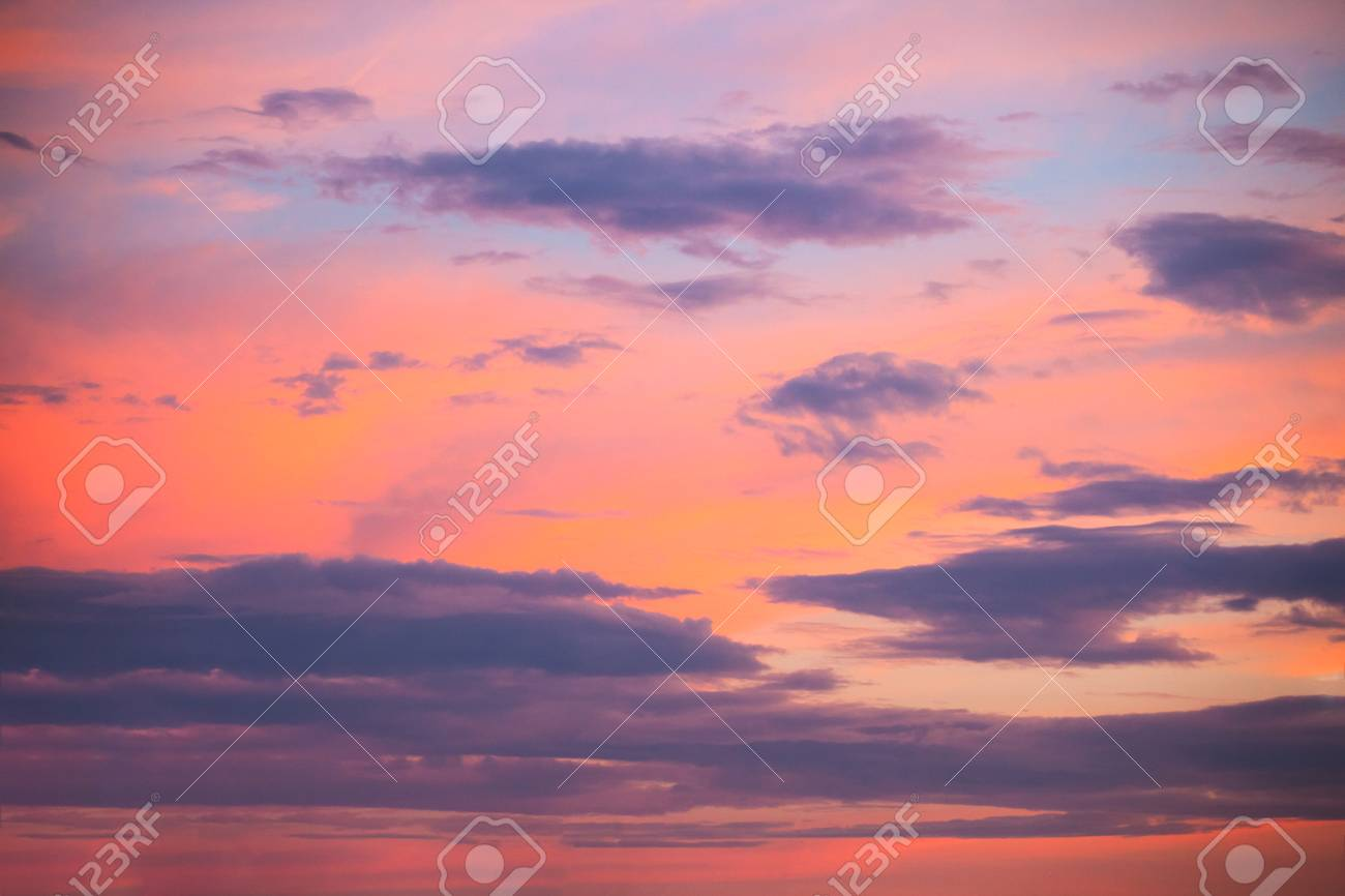 Orange Purple Sunset Sky With Clouds Stock Photo Picture And Royalty Free Image Image 110027374