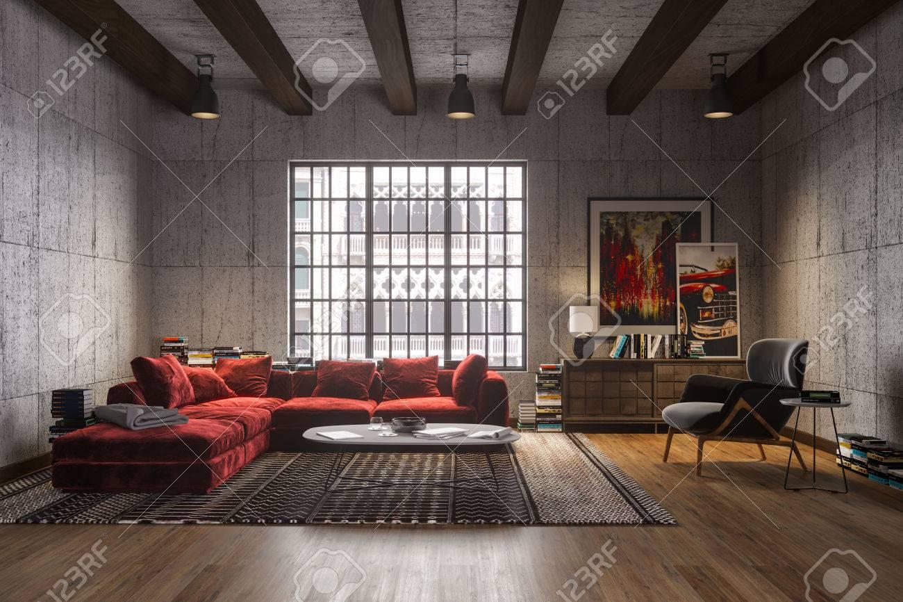 New luxury loft interior with red velvet sofa