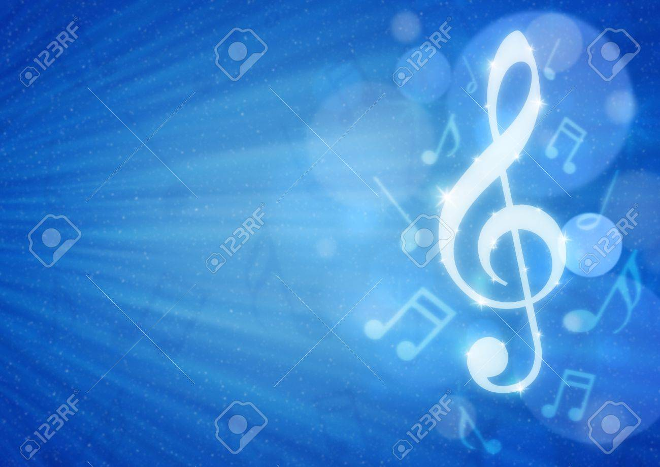 musical notes on blue background Stock Photo - 20980158