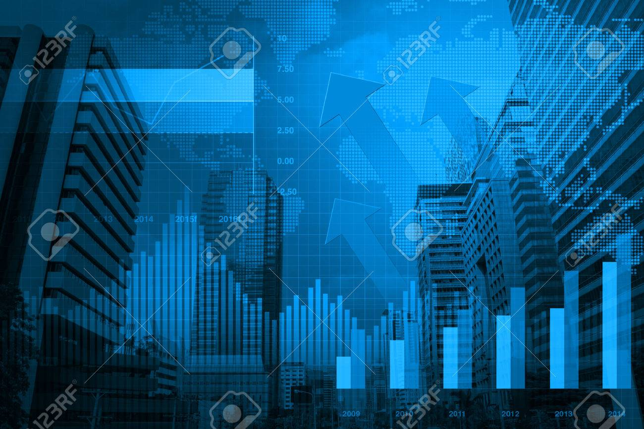 arrow head with financial chart and graphs on city background stock