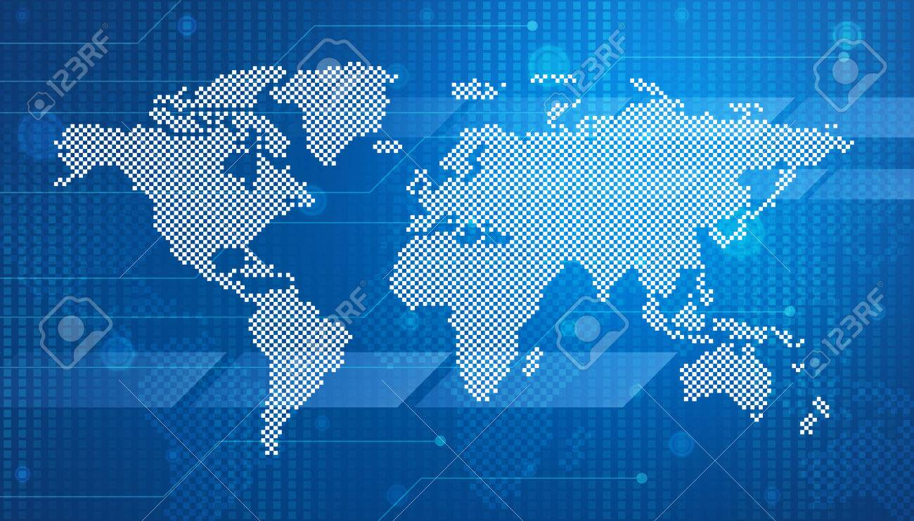 Digital World Map Technology Style For Business Background Stock