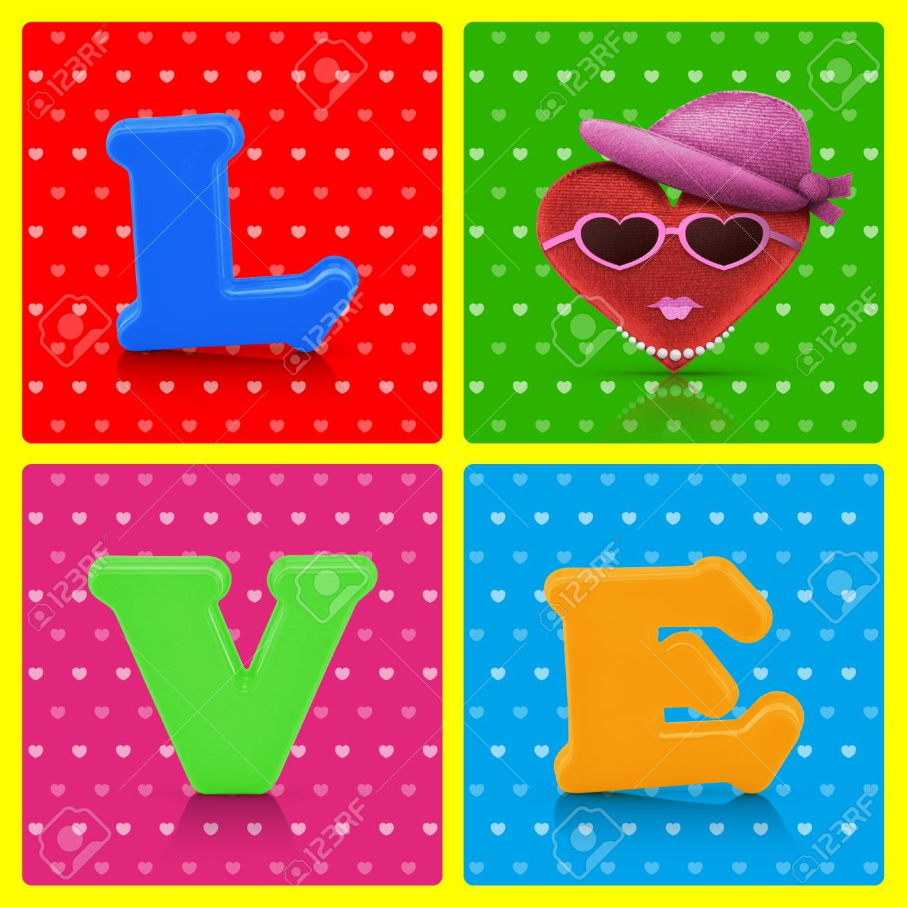 Love Heart Symbol Woman Character On Retro Background Love Concept