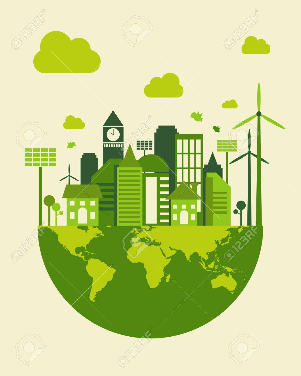green city building save earth concept vector illustration royalty