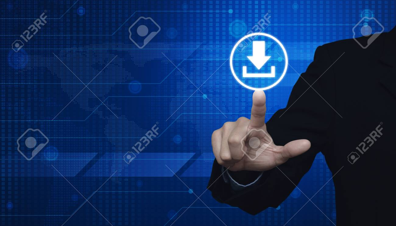 Businessman pressing on web download icon over digital world.. on