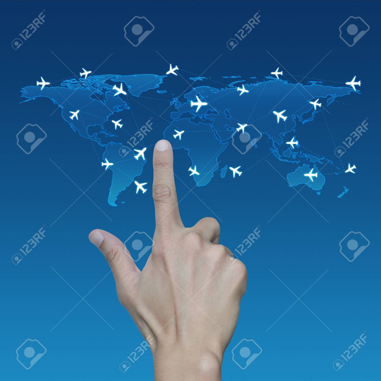 Hand pressing light blue world map with flight routes airplane hand pressing light blue world map with flight routes airplane on blue background transportation concept gumiabroncs Gallery