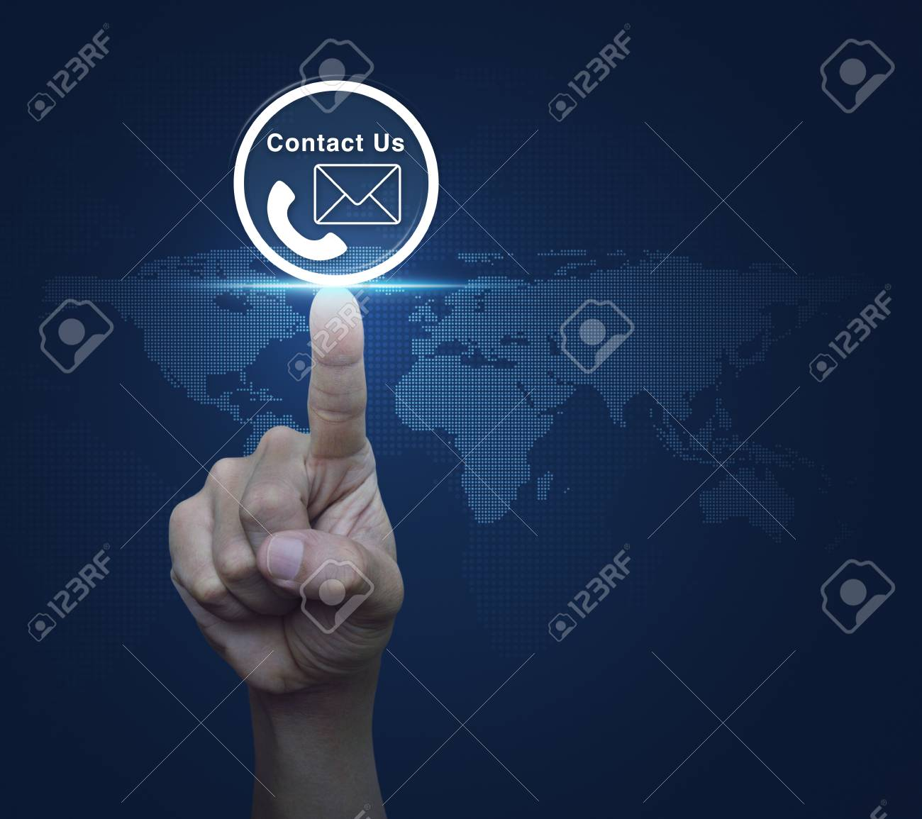 Hand pressing telephone and mail icon button over digital world hand pressing telephone and mail icon button over digital world map blue background contact us gumiabroncs Images