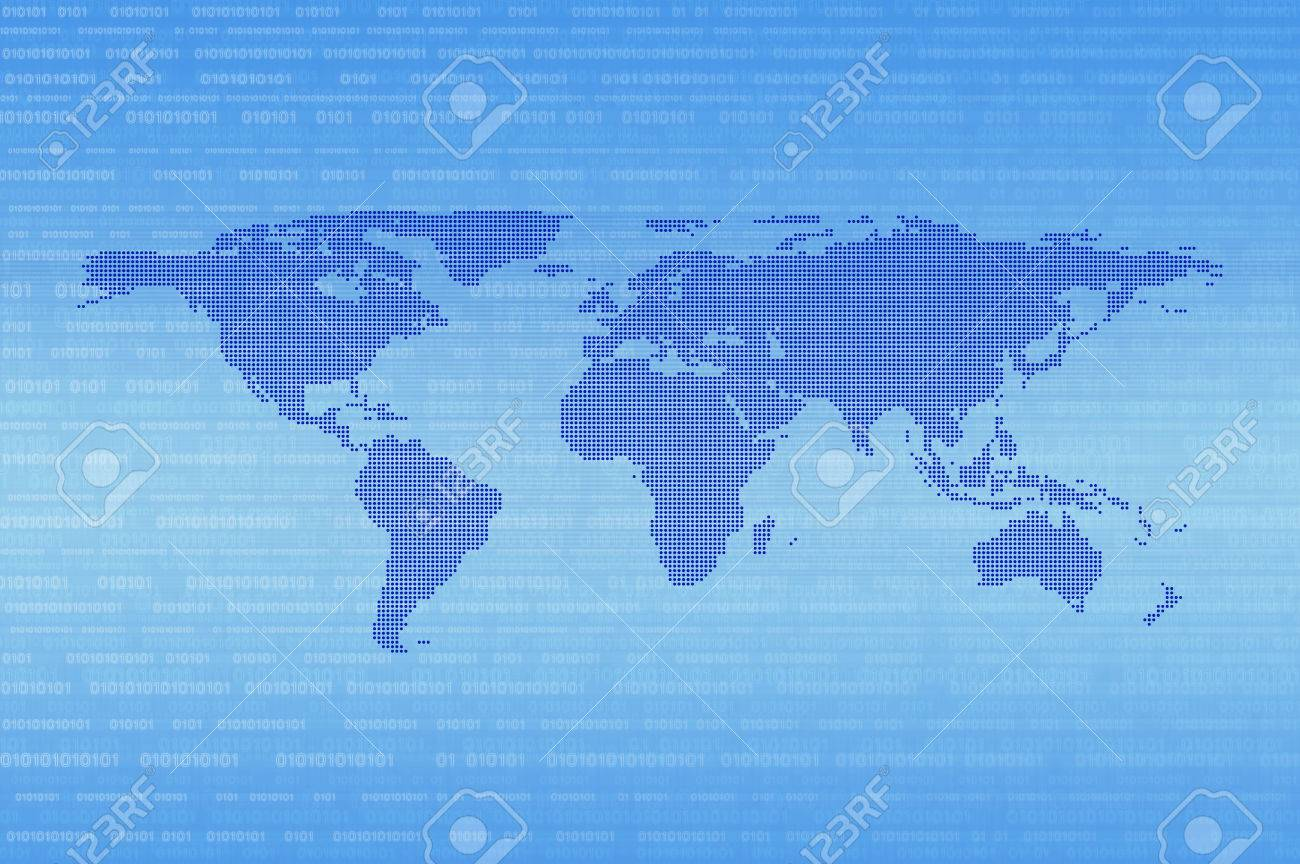 Blue digital dot world map over binary code background technology blue digital dot world map over binary code background technology internet communication concept stock photo gumiabroncs Gallery