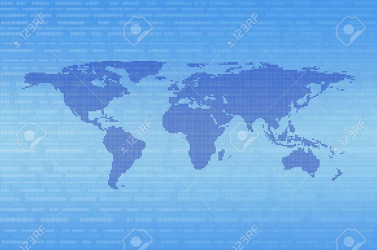 Blue Digital Dot World Map Over Binary Code Background Technology