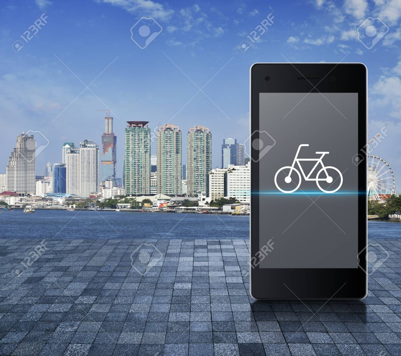 Bicycle Flat Icon On Modern Smart Phone Screen On Stone Tile.. Stock ...