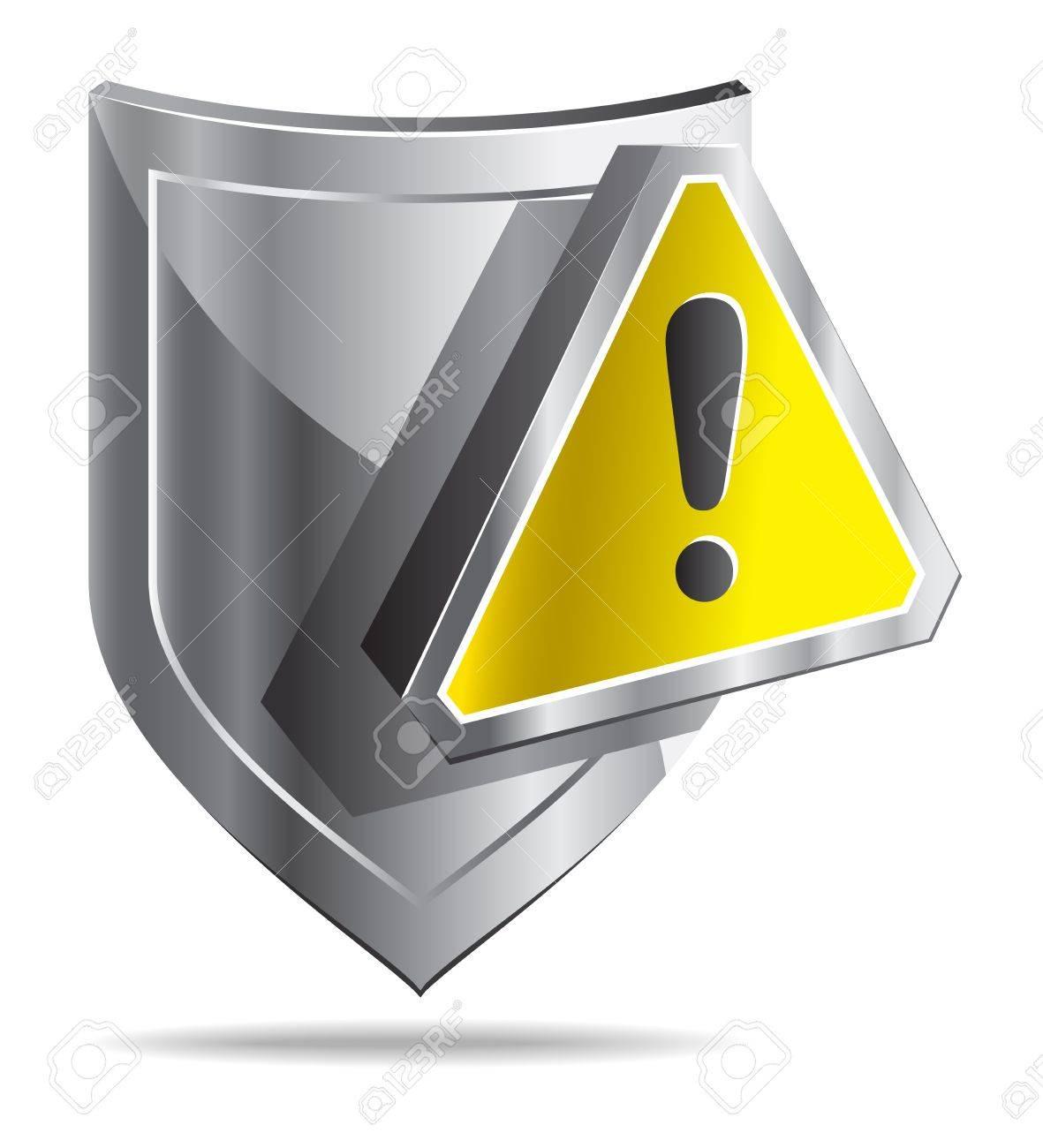 Escudo Y Símbolo De Advertencia Amarillo Aislados Sobre Fondo Blanco ...