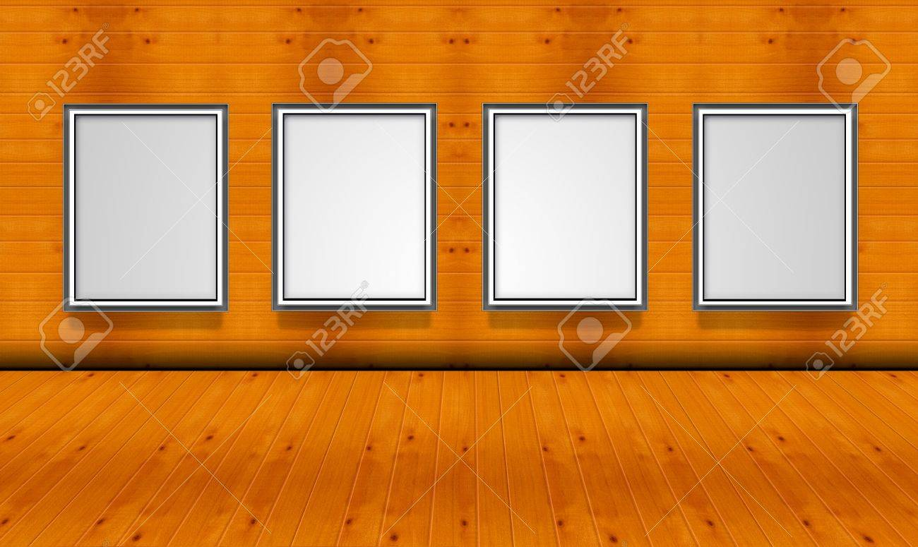 Empty picture frames in the art gallery wood room no light Stock Photo - 12718917