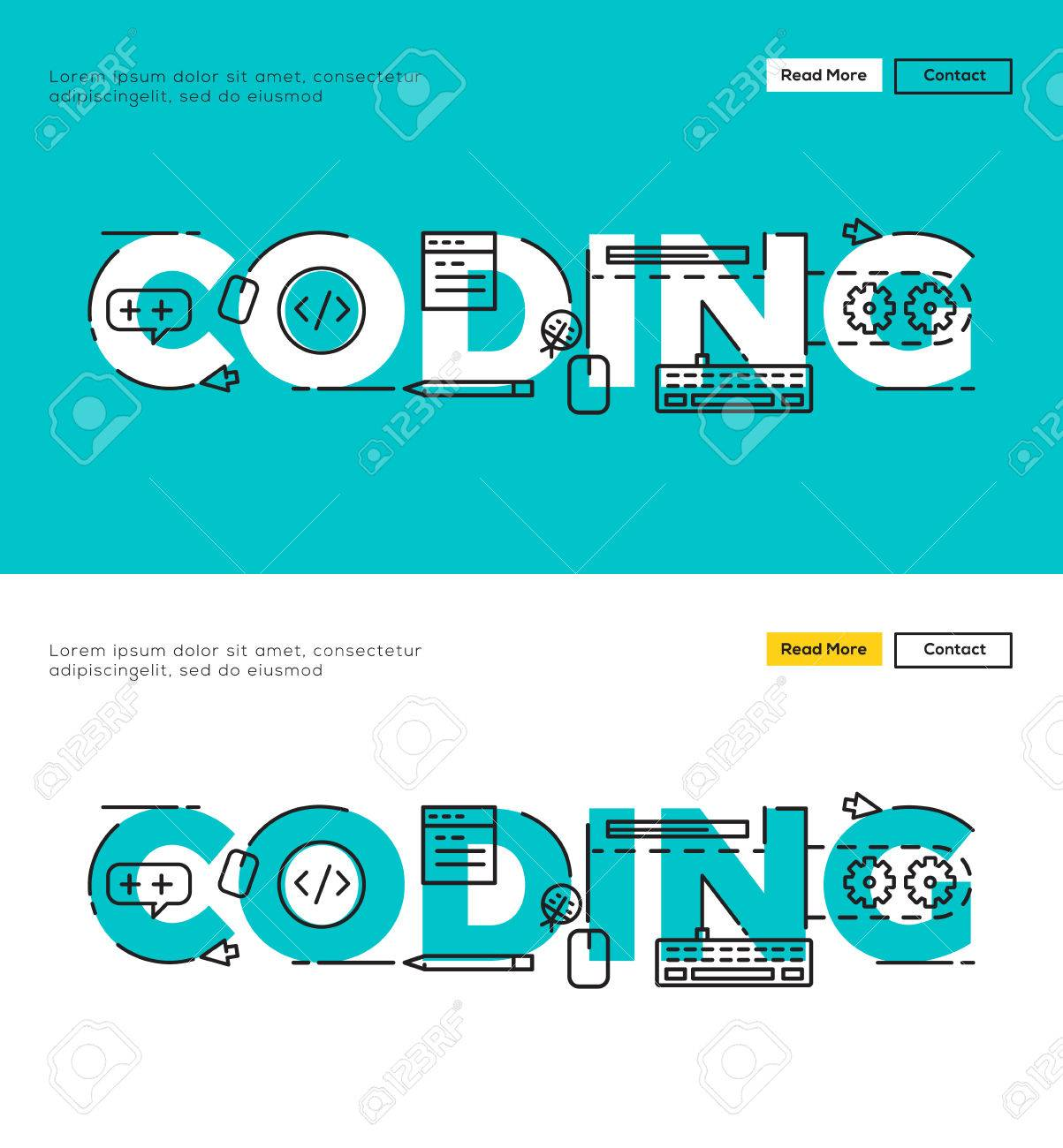 modern flat line design concept of programming and coding flat