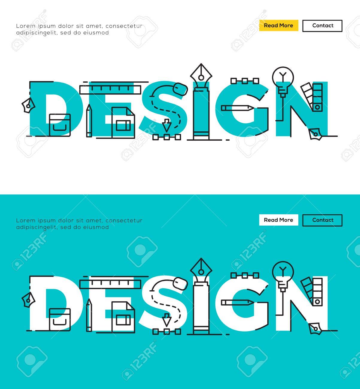 Modern Flat Line Design Konzept Für Gestaltung Und Design Prozess. Wohnung  Line