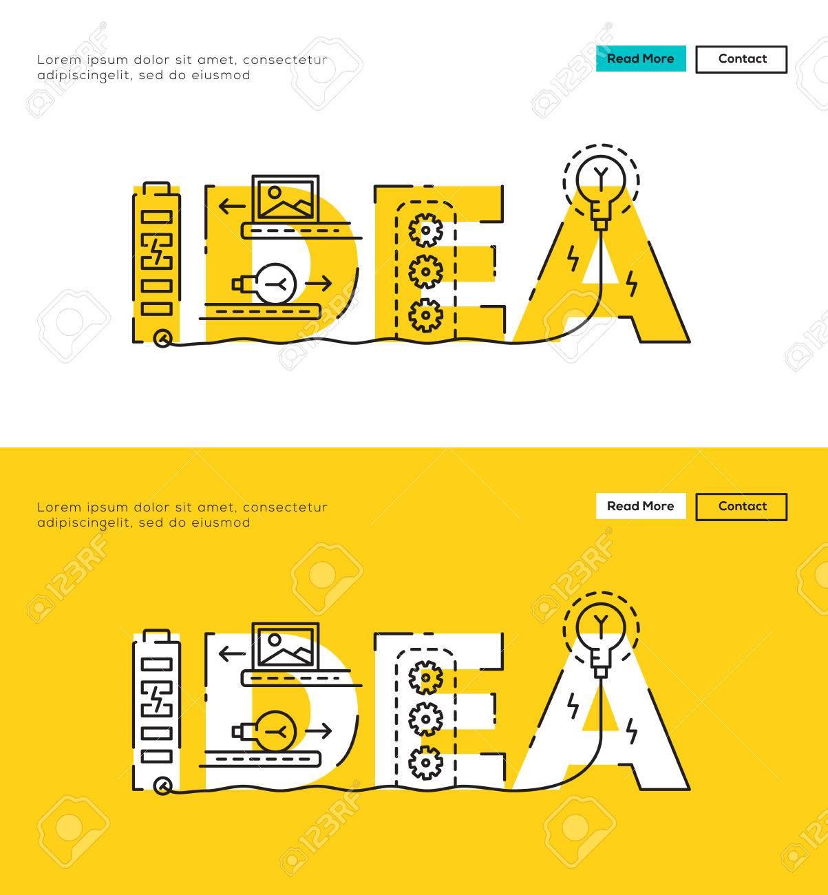 Modern Flat Line Design Concept Of Big Idea And Idea Process ...