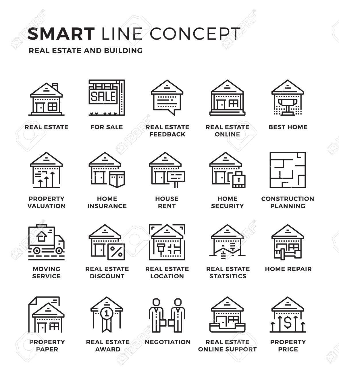 Set of modern thin line icon collection concept of Real Estate , Building. Pixel perfect icon design for Web Graphic , Mobile app ,Vector Design illustration. - 55964426