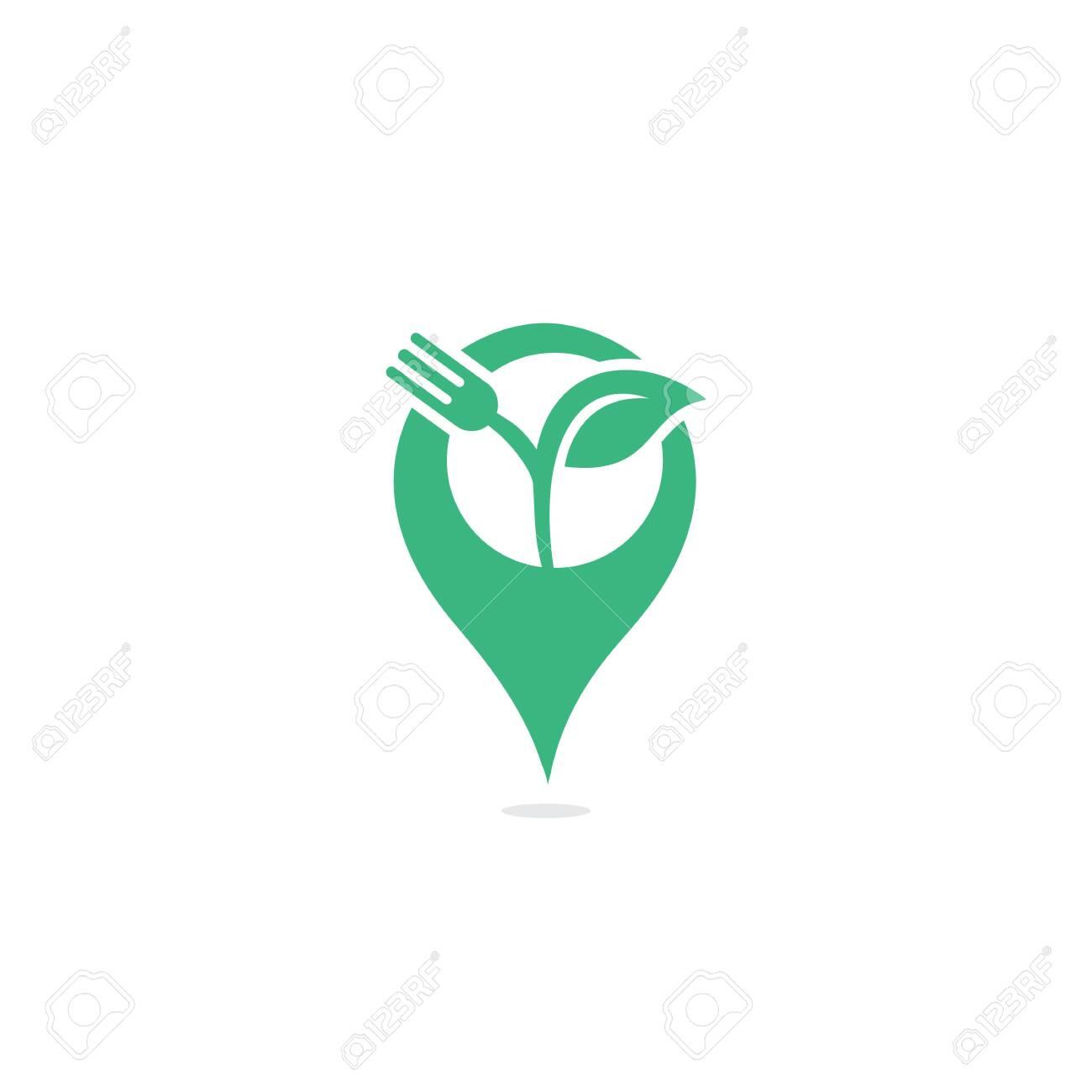 Fork Leaf And Gps Sign Vector Logo Design Organic Food Restaurant Or Cafe Logo Concept With Fork And Leaf Ilustraciones Vectoriales Clip Art Vectorizado Libre De Derechos Image 149570364