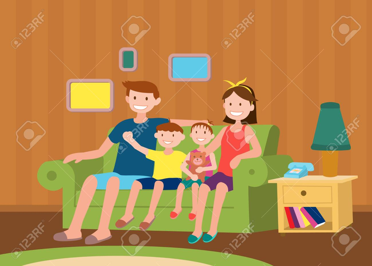 Family Sitting Together - 121759354