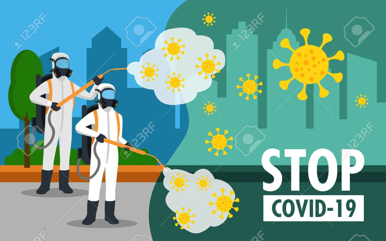 specialist in hazmat suit cleaning disinfecting coronavirus in the streets health risk full length horizontal vector illustration - 148545427
