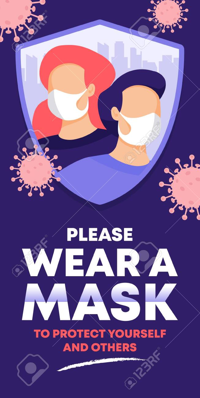 please wear a face mask instruction Poster. vector illustration. - 151039558