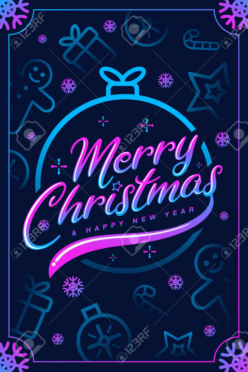 Christmas & New year Fancy Greeting Card. Vector. - 158246260