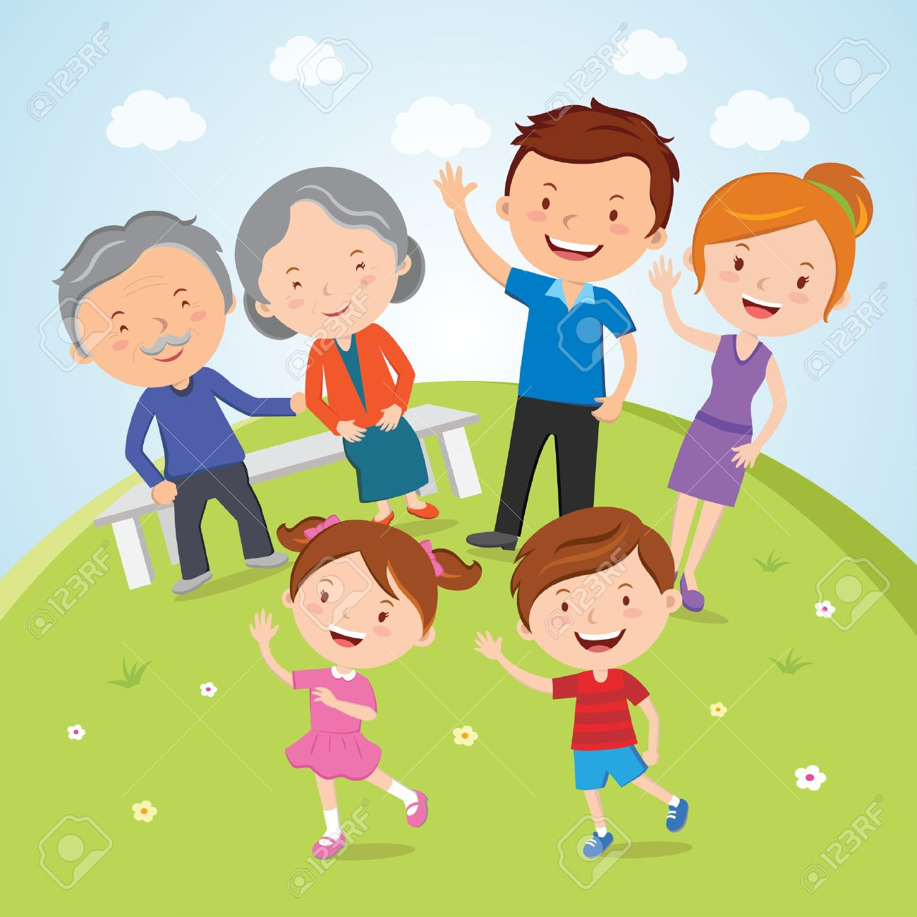Family; A happy family portrait of Parents, Grandparents and Children are having outdoor activities - 29073058