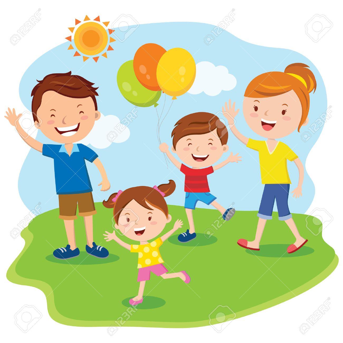 Familia within día de la familia; excursión de la familia ilustraciones
