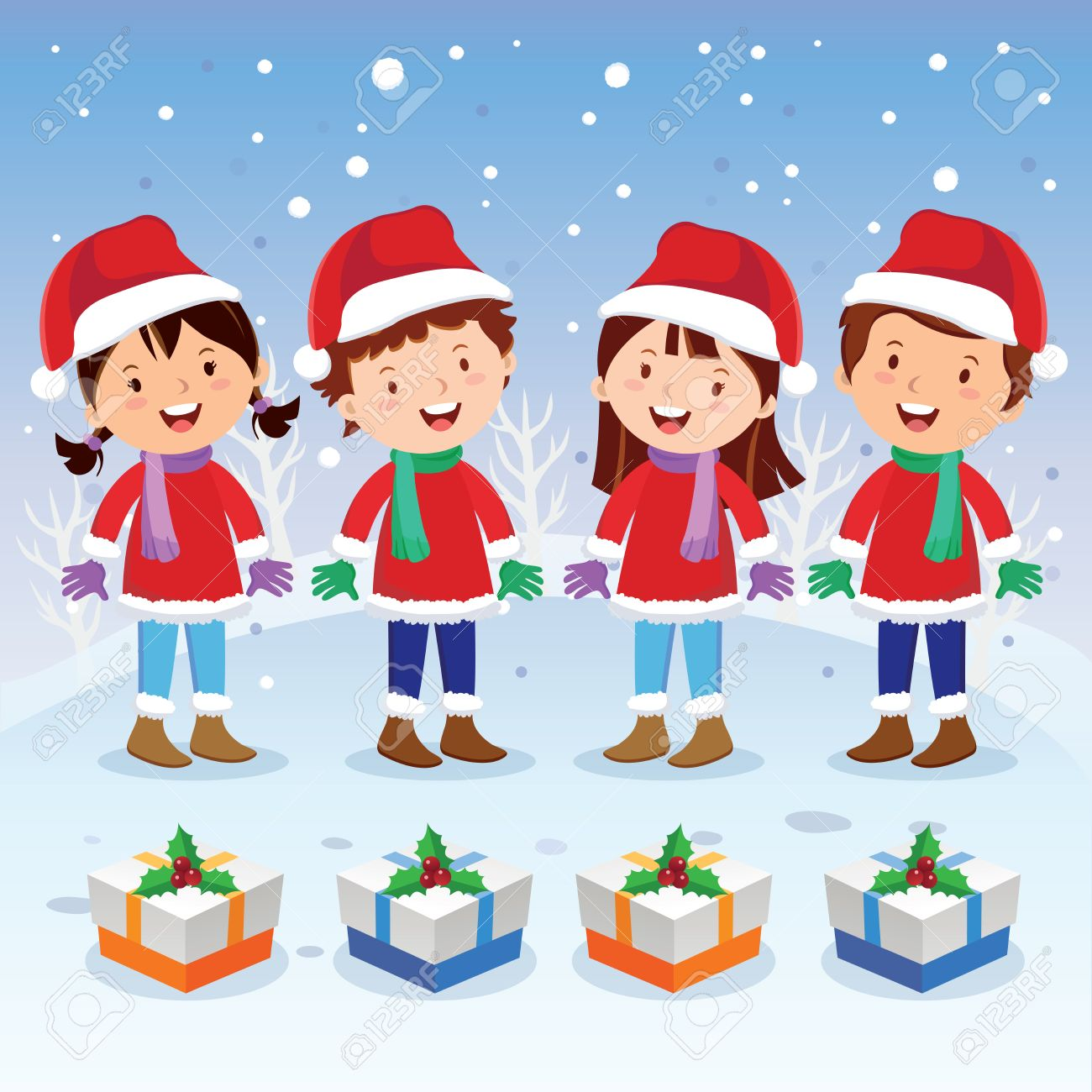 Winter Fun. Christmas Carols. Children Choir. Royalty Free ...