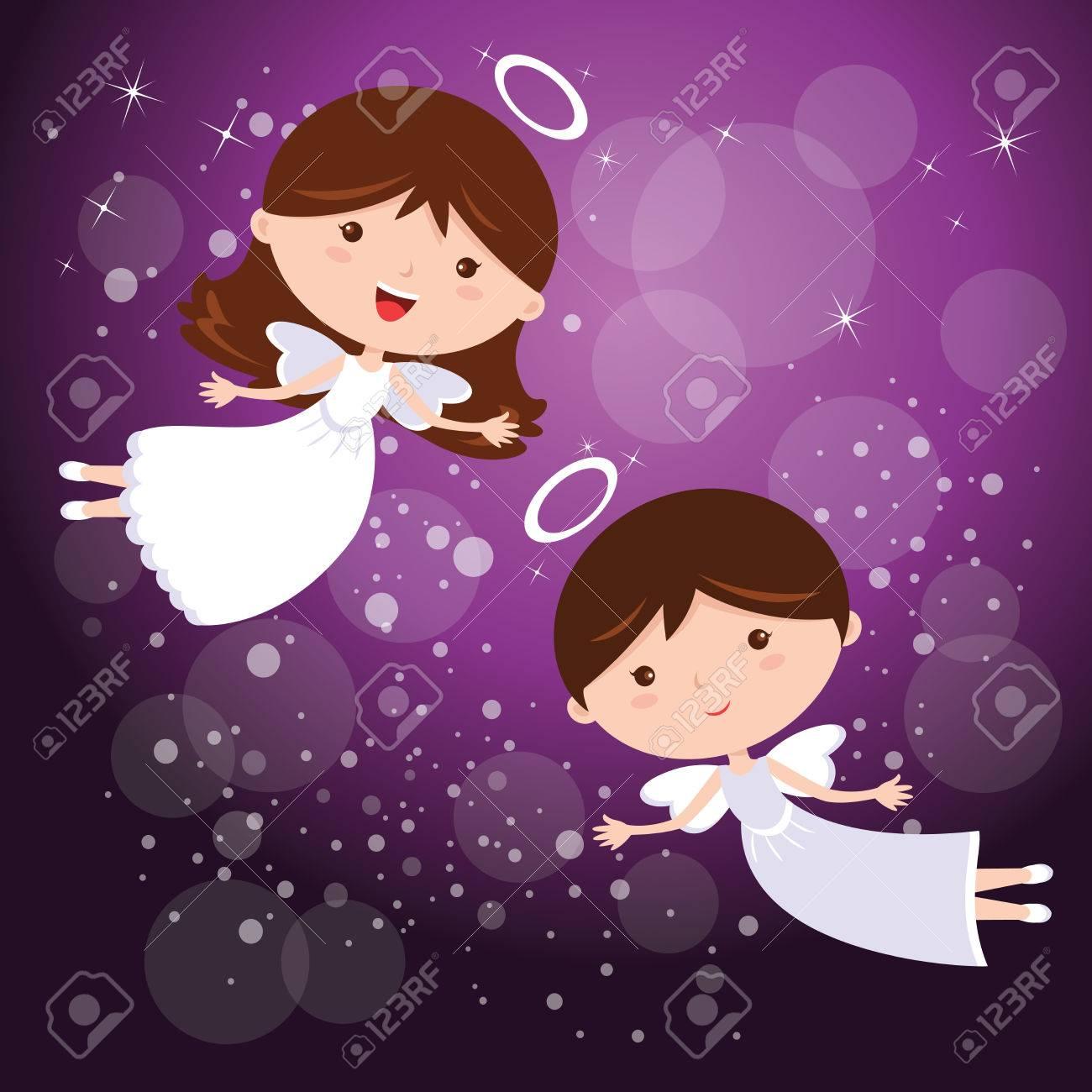 Ngeles Con Cielo Púrpura Ilustración De Dos Angelitos Baile Con