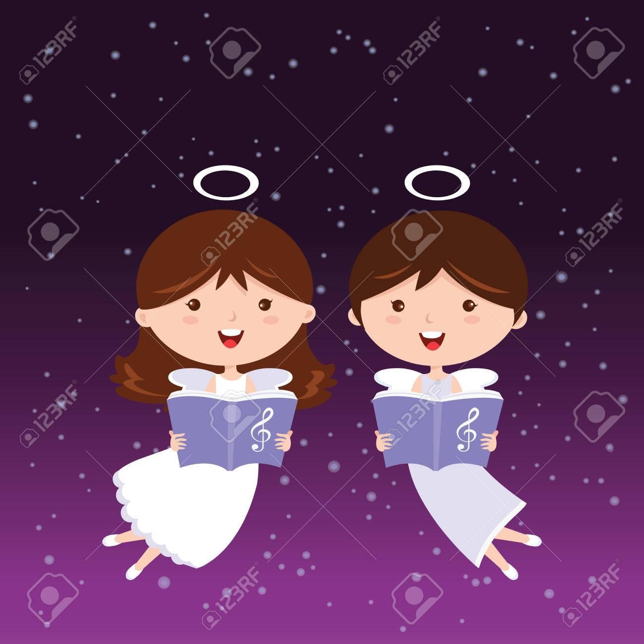 Angels singing  Singing angels on sparkles design elements background