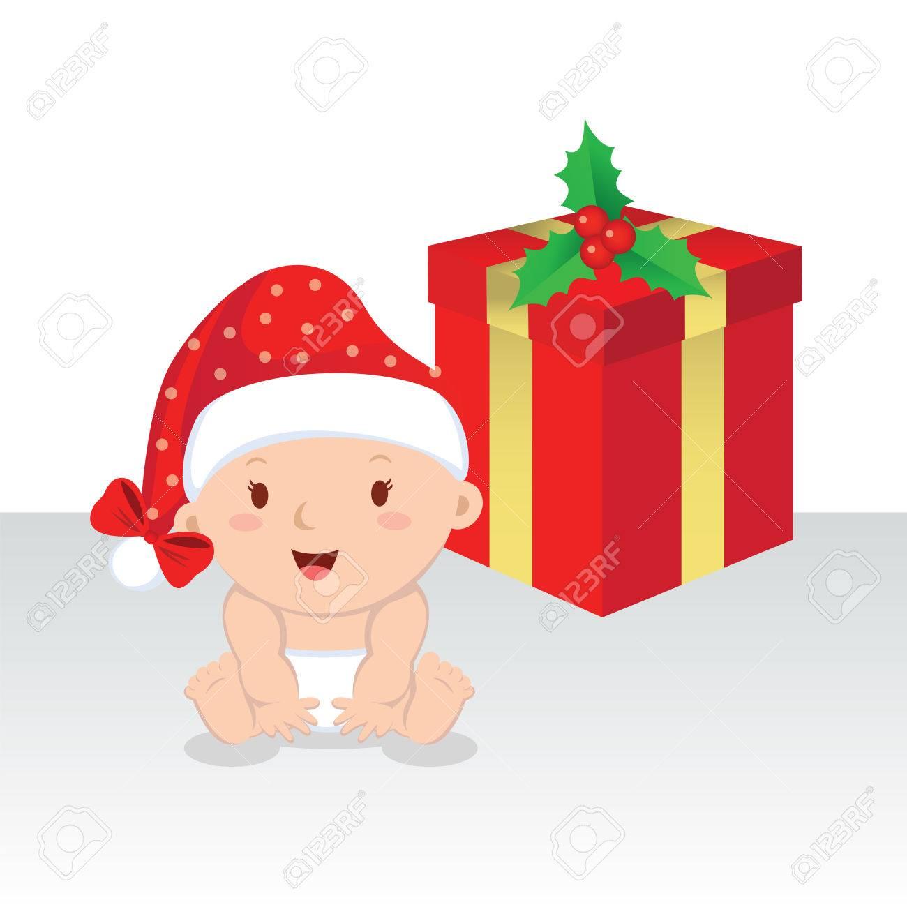 Nettes Baby Mit Weihnachtsgeschenk. Weihnachten Baby Mädchen Mit ...