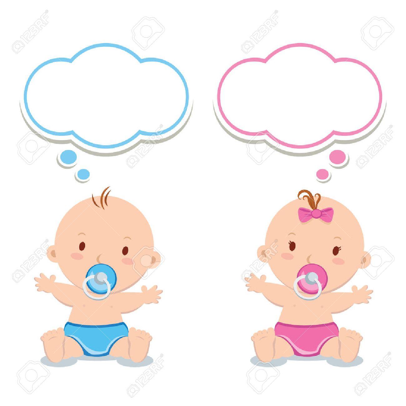 小さな男の子の赤ちゃんと女の子の赤ちゃん。おしゃぶりと思考の泡の