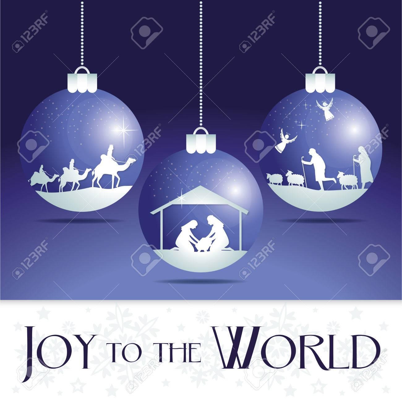Joy To The World. Christmas Nativity Tree Ornaments. Royalty Free ...