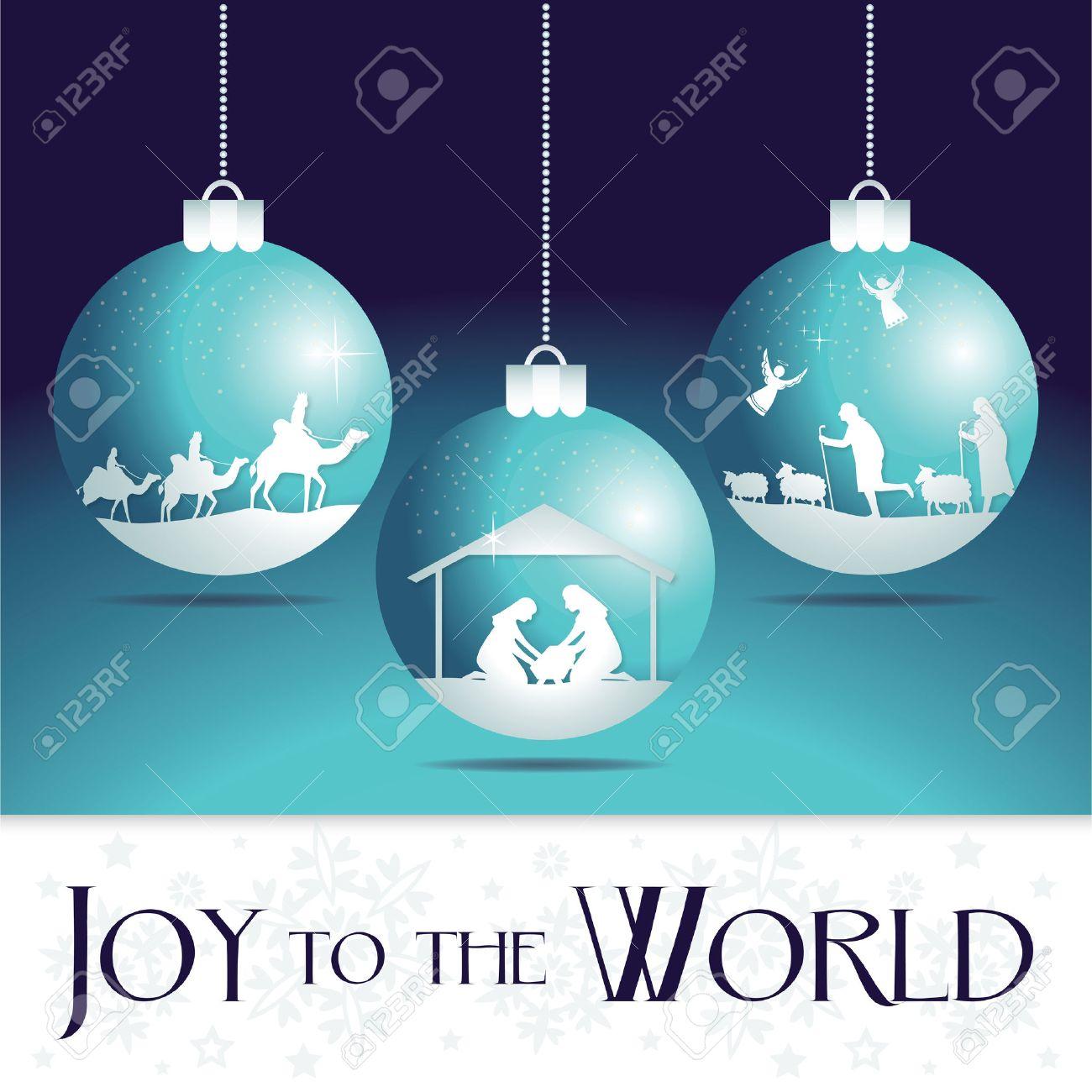 Joy to the world. Christmas nativity tree ornaments. - 50305810