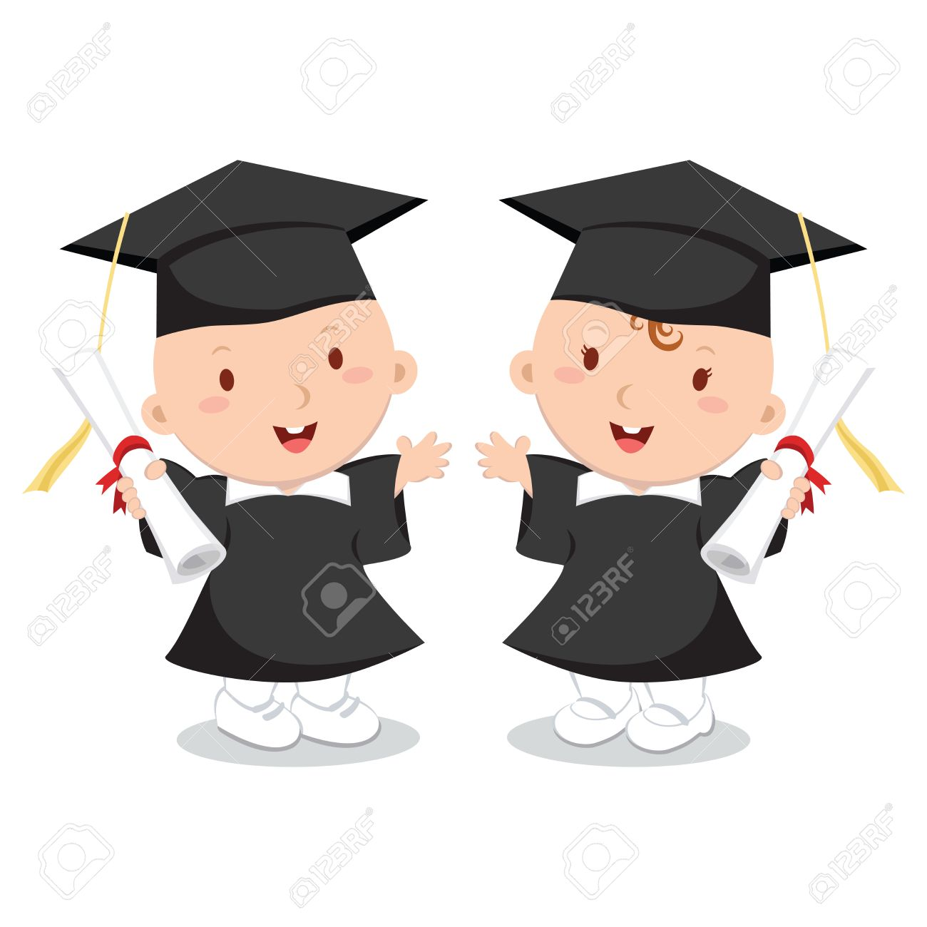 Baby Boy And Girl Wearing Graduation Gown And Cap. Royalty Free ...