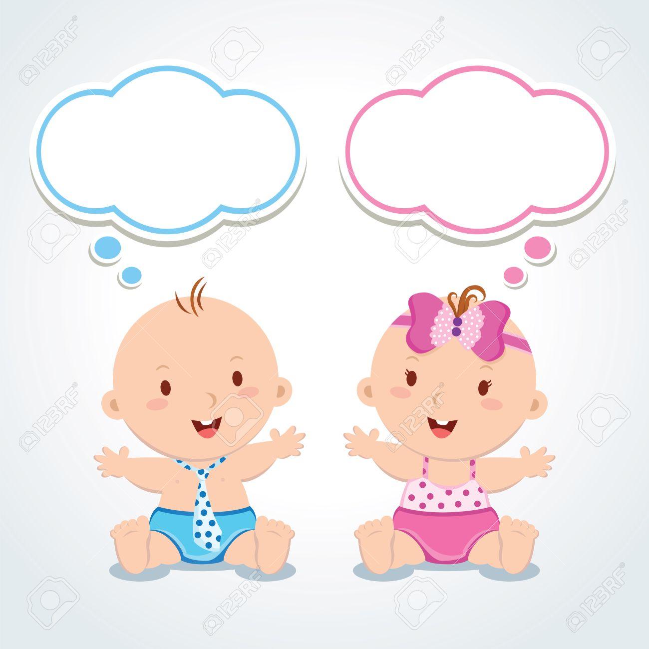 双子泡を考えると赤ちゃんかわいい男の子と女の子のベクトル
