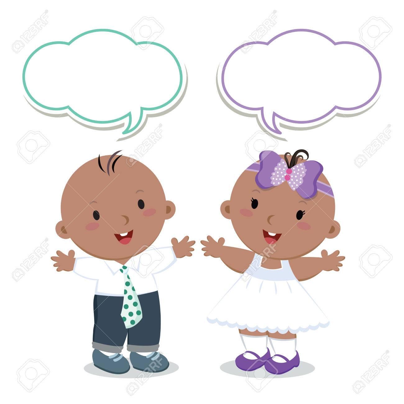 双子。男の子と女の子。かわいい男の子と女の子のベクトル イラストを